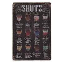 Shots Menu - Metal skilt. Flot blikskilt med drinks.