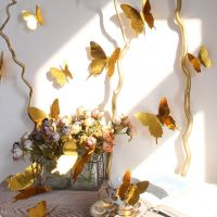 3D Sommerfugle wallstickers med Guld - NiceWall.dk