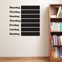 Ugeplan wallsticker i tavlefolie - Wall sticker til kridt
