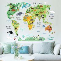 Klodens dyr Verdenskort - Wall sticker til væggen