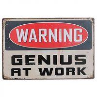 Warning: Genius at work Metal skilt. Flot retro blikskilt med tekst om geni på arbejde.