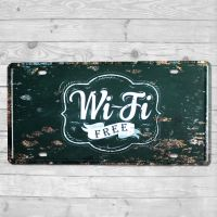 Wi-Fi free - Metal skilt. Flot blikskilt med tekst.