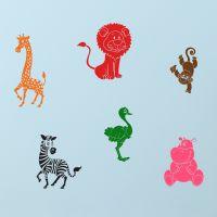 Søde zoo-dyr til børneværelset. Dyr fra cirkus og Afrika.