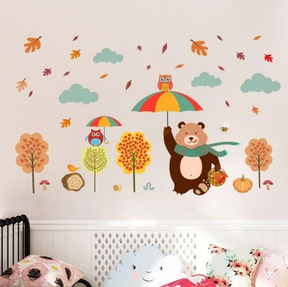 Efterår wall sticker - Sødt vægklistermærke med bjørn og træer - Selvklæbende vægdekoration