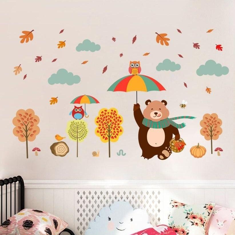Billede af Wallsticker Efterårstema med bjørn