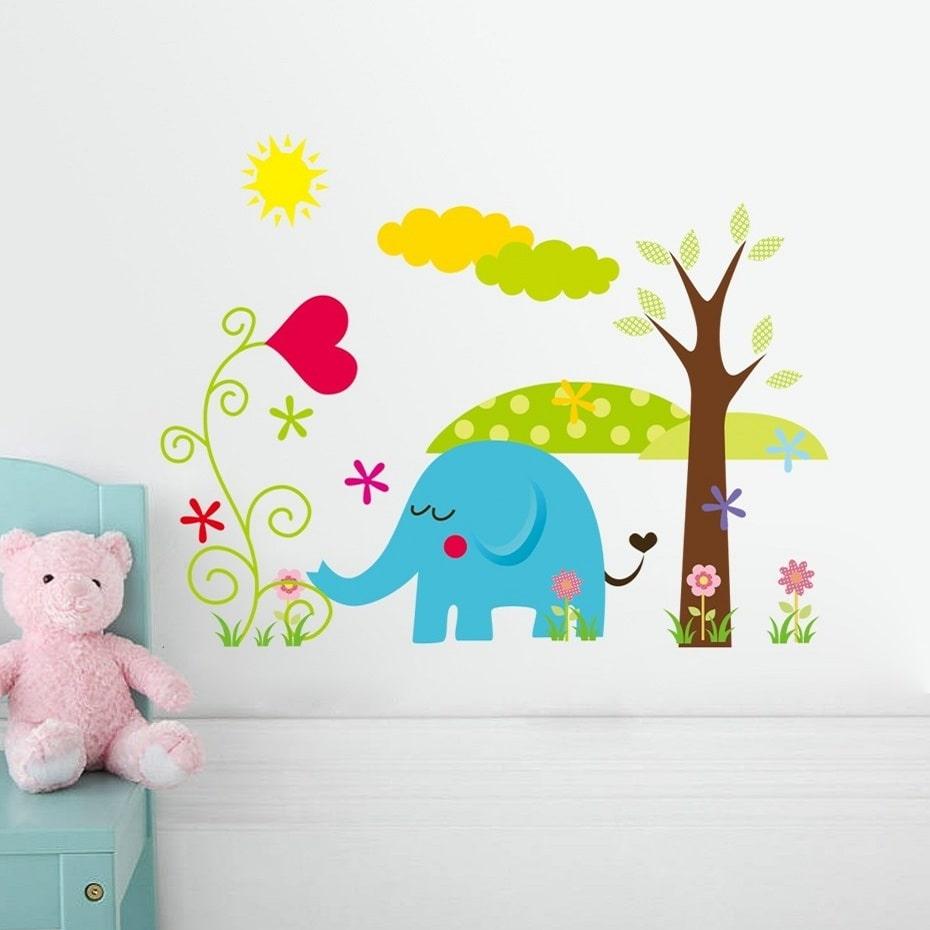 Wallsticker Sød elefant med landskab