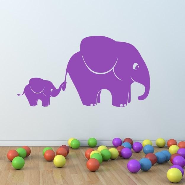 Wallsticker Elefantmor og elefantunge