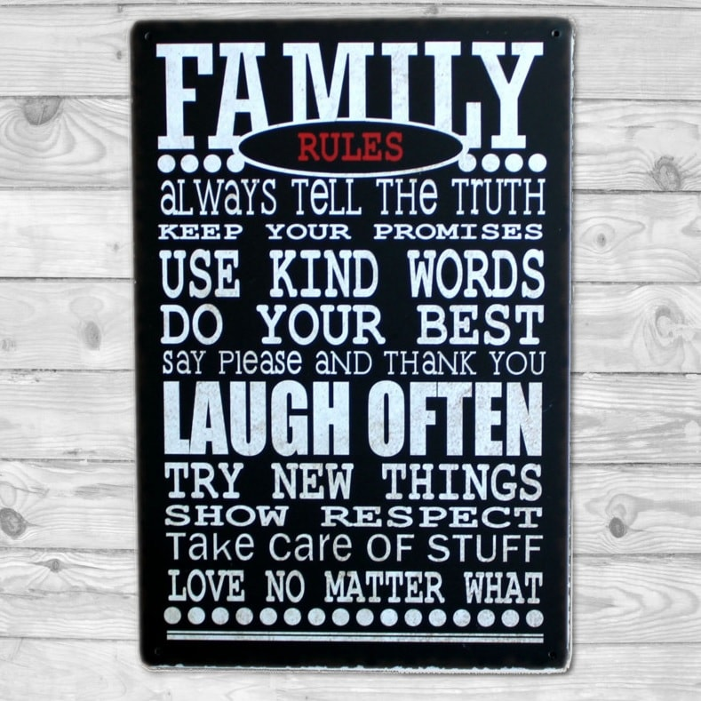 Image of   Emaljeskilt Family Rules