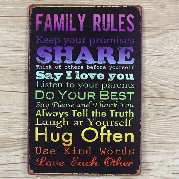 Image of   Emaljeskilt Family Rules #2