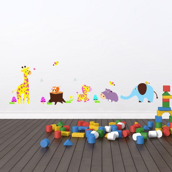 Wallsticker Farverige dyrebørn