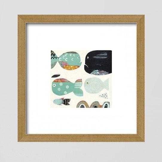 Image of   Plakat: Fjollede, farverige fisk - 30 x 30 cm.