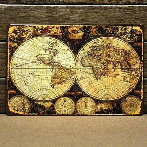 Image of Emaljeskilt Antik Verdenskort