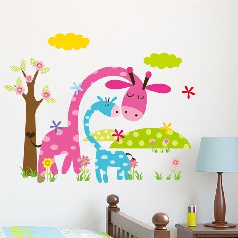 Image of   Wallsticker Giraffer med træ og landskab