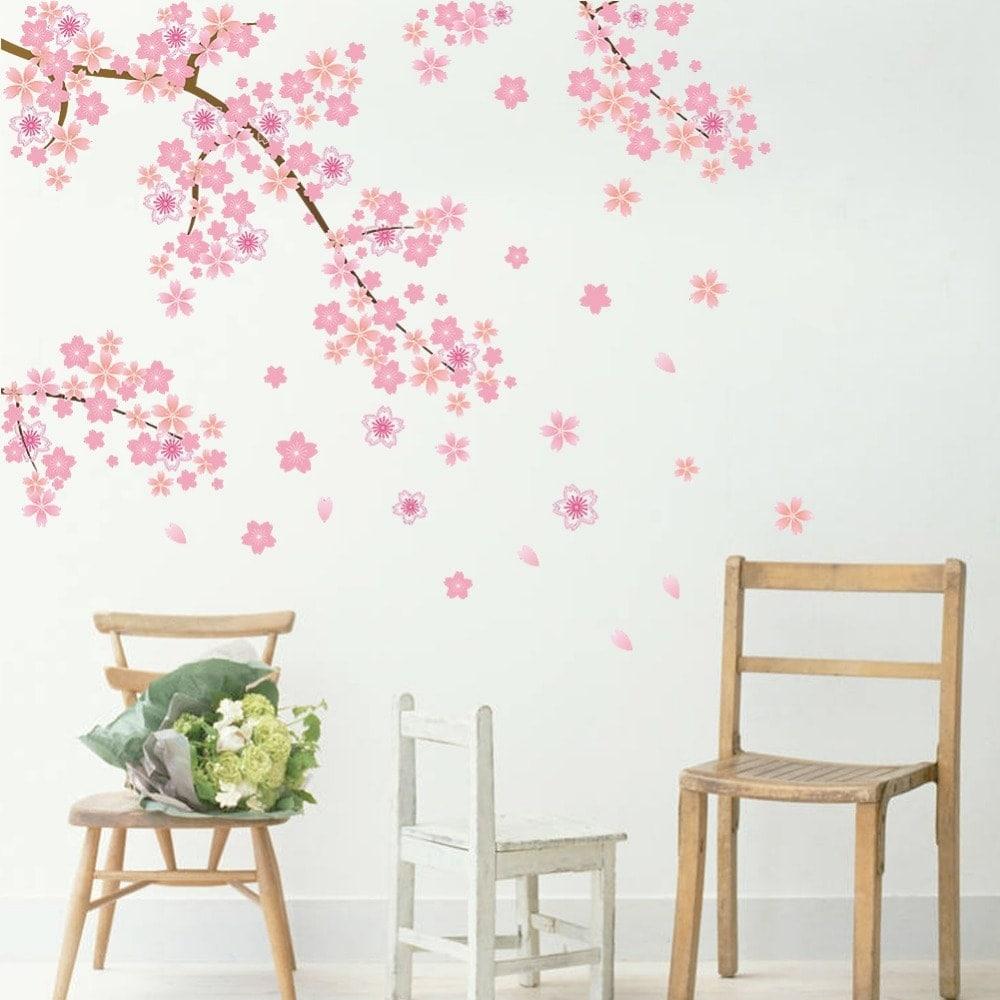 Wallsticker Grene med pink Blomster