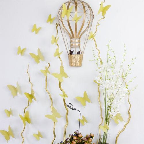3D Sommerfugle - Med Glimmer (Guld/Sølv)