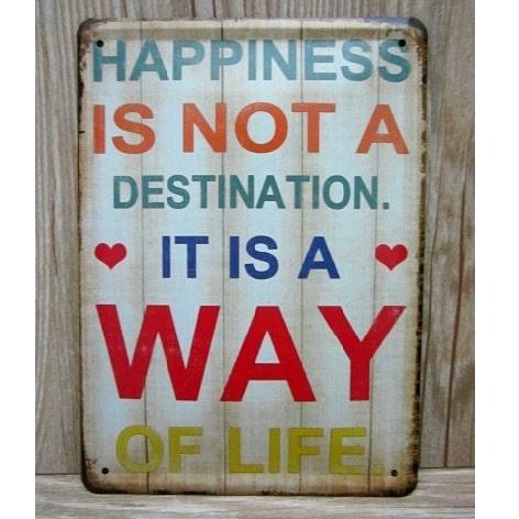 Image of   Emaljeskilt Happiness A way of life
