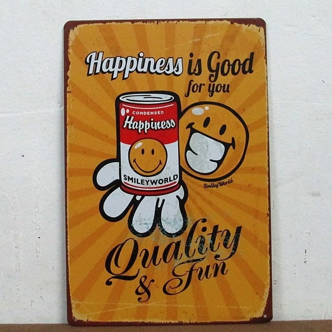 Image of   Emaljeskilt Happiness is good for you