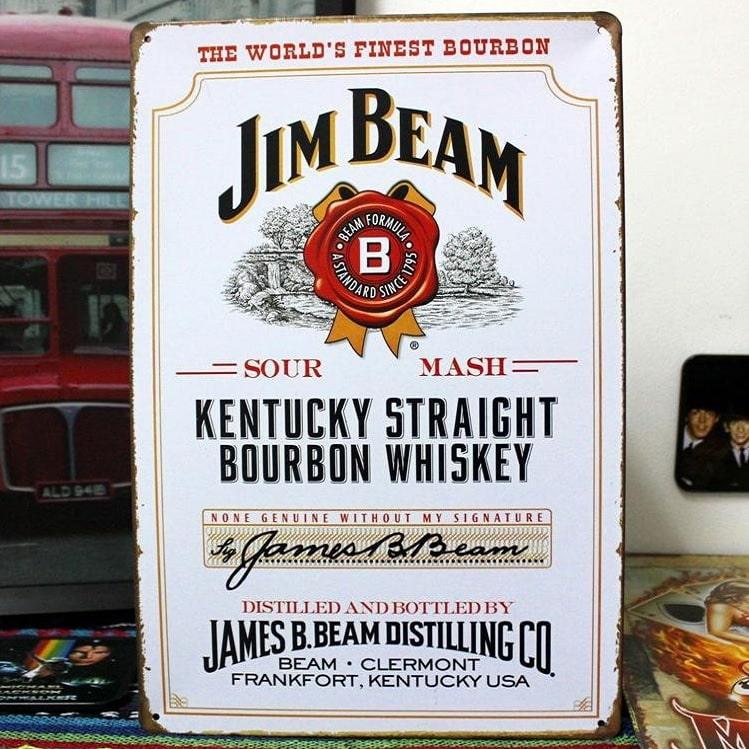 Emaljeskilt Jim Beam bourbon whiskey