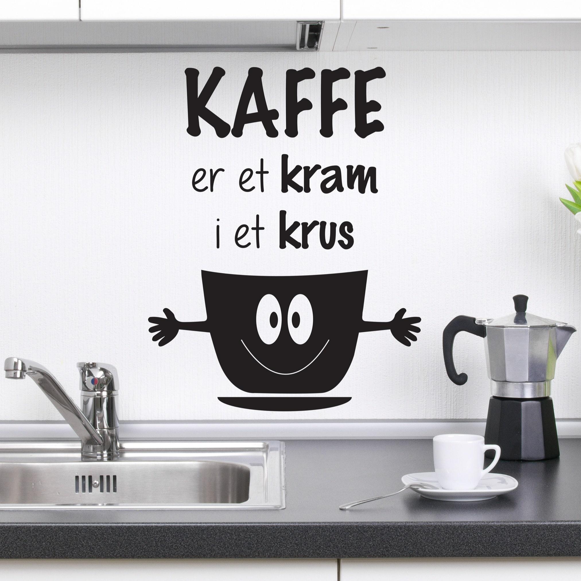 Wallsticker Kaffe er et kram i et krus