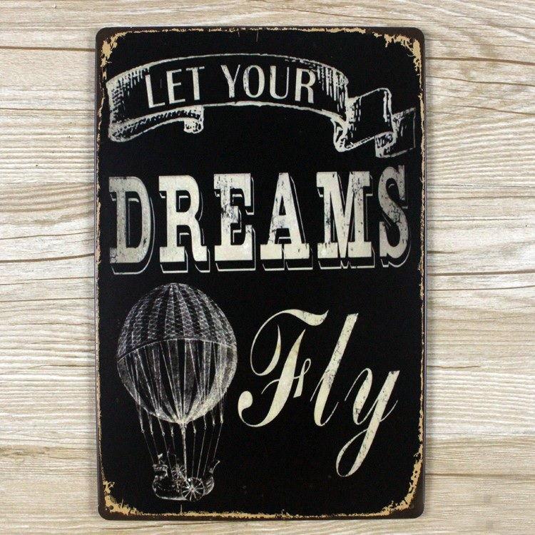 Image of   Emaljeskilt Let your Dreams fly
