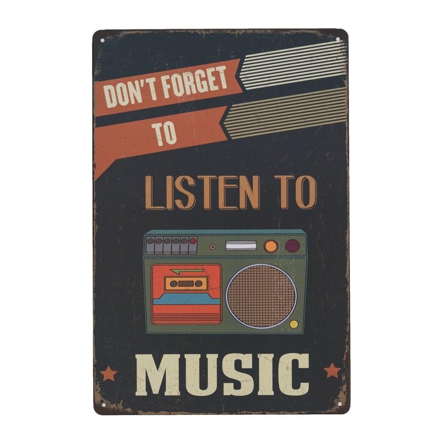 Image of   Emaljeskilt Listen to Music