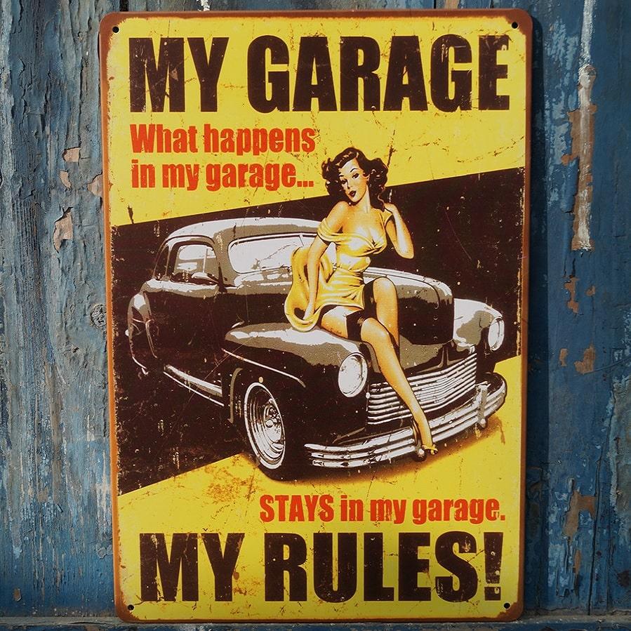 Emaljeskilt My garage my rules