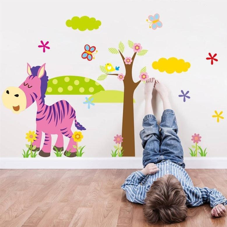 Wallsticker Sjov Zebra med landskab