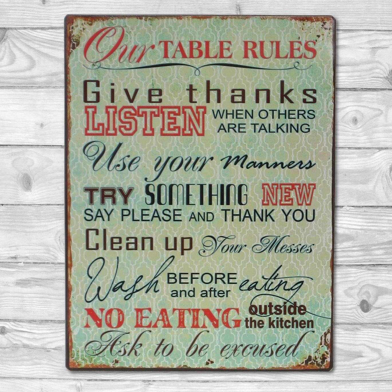 Køb Emaljeskilt Our Table Rules