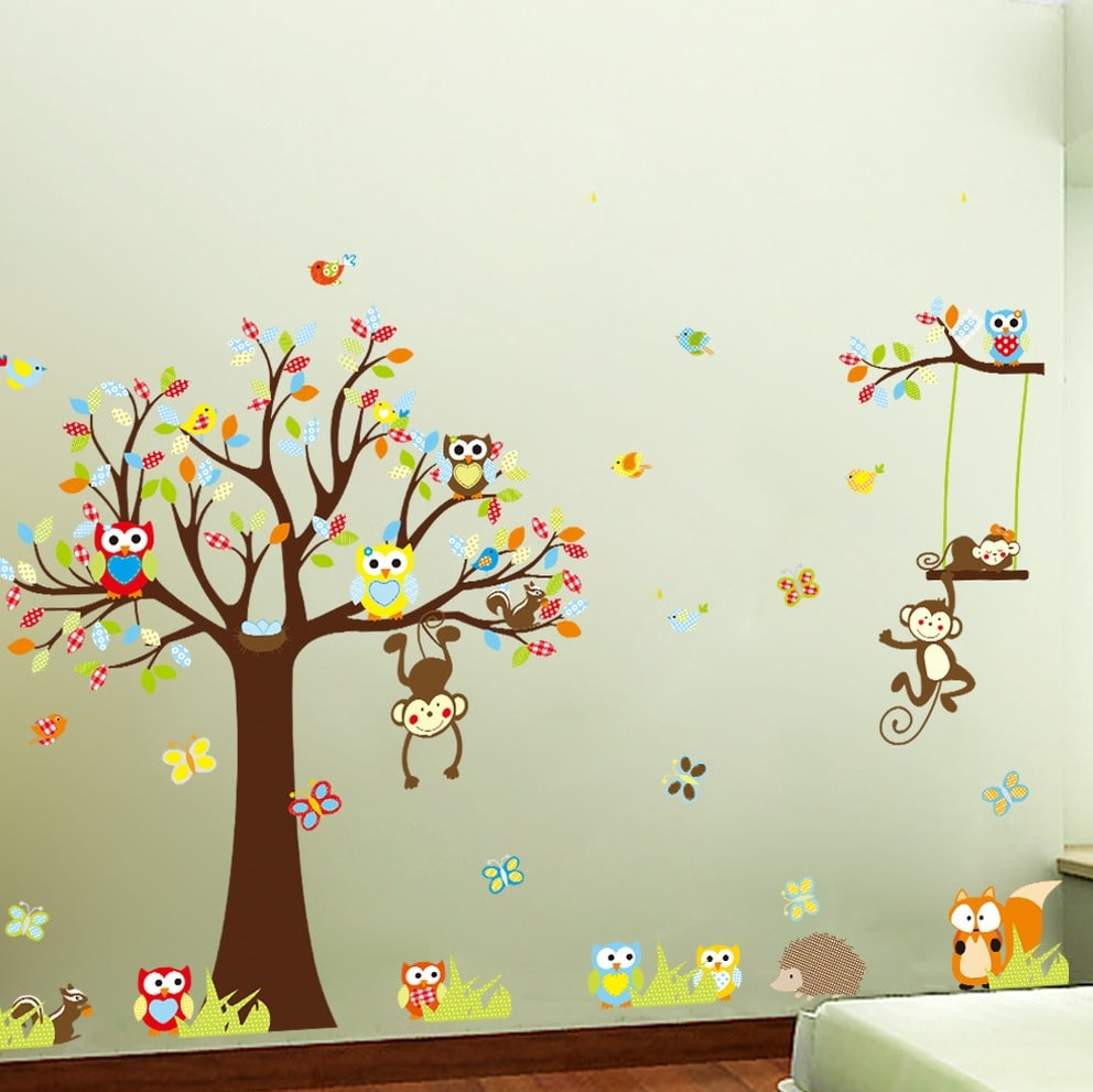 Wallsticker Træ med mange dyr