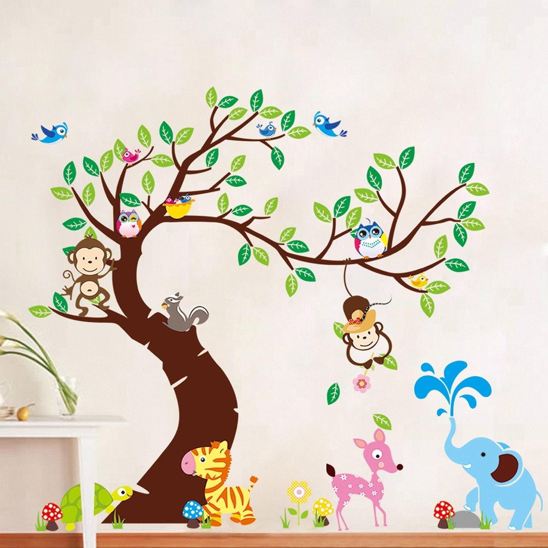 Wallsticker Træ med små dyr