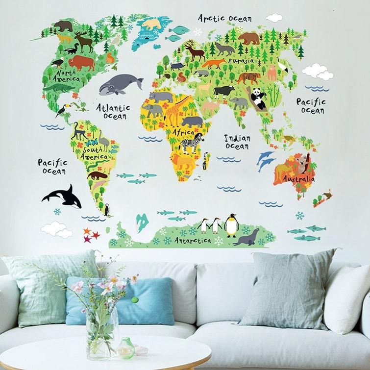 Wallsticker Verdenskort med klodens dyr
