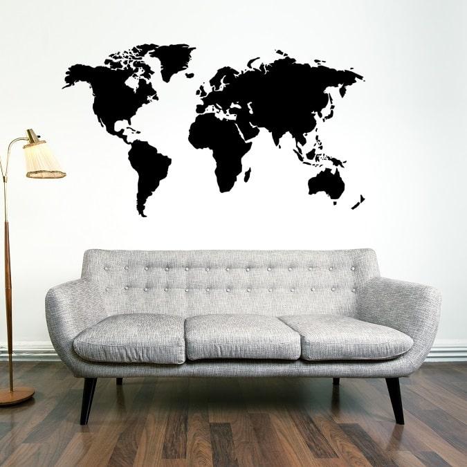 Verdenskort Wallstickers - Verdenskort i sort/hvid eller farve