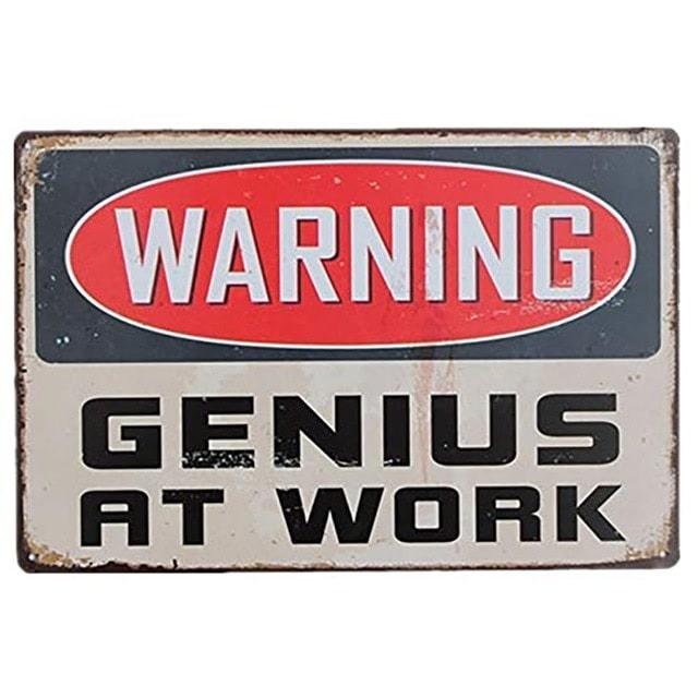 Køb Emaljeskilt Warning – Genius at Work