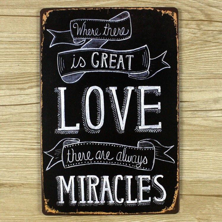 Image of   Emaljeskilt Great Love = Miracles